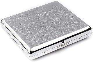 LONGWDS Caja de cigarro Caso de cigarrillos, 20 paquetes, acero inoxidable, cigarrillos creativa personalizada automático ...