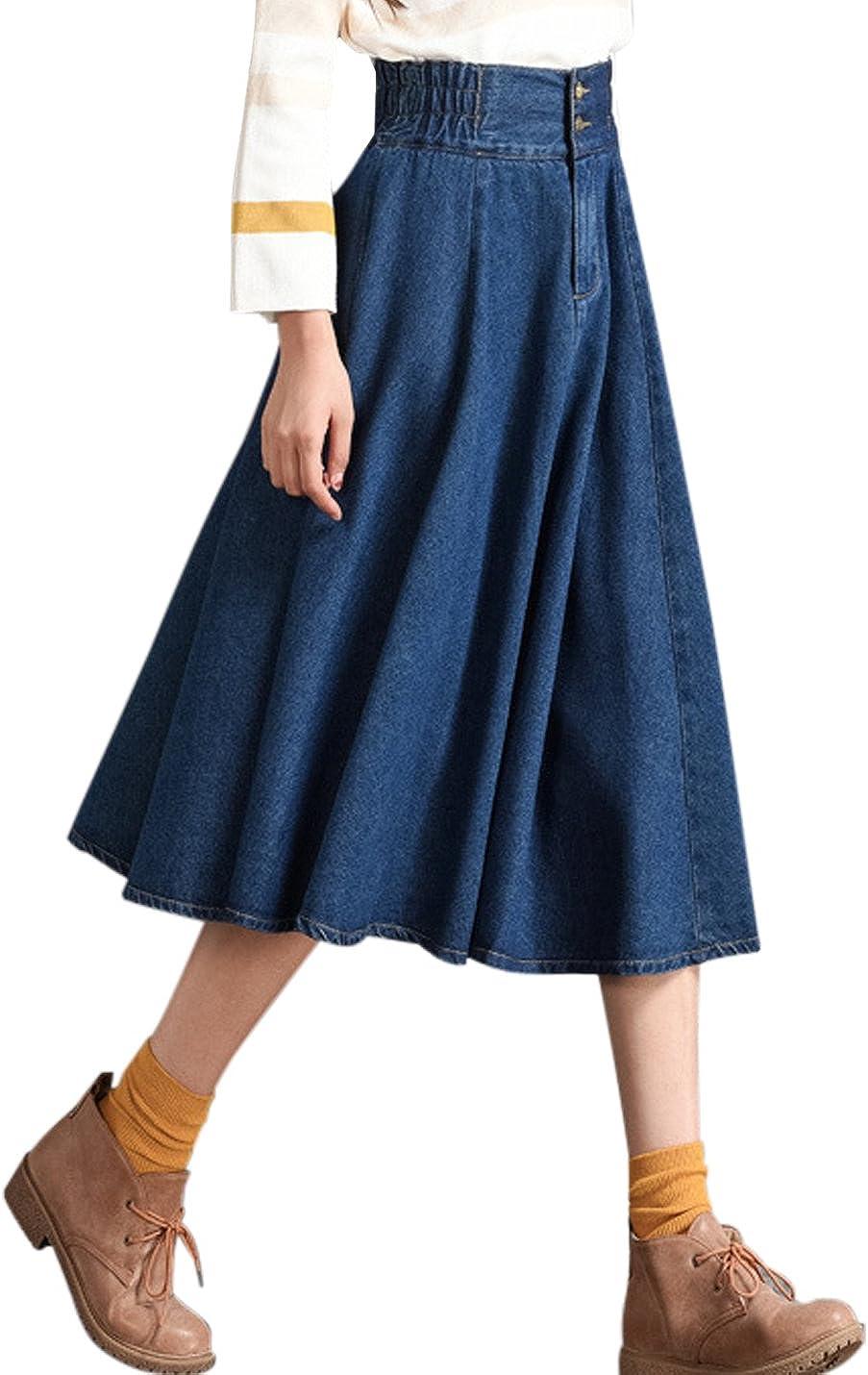 Uaneo Women's Casual High Elastic Waist Pleated A Line Below Knee Denim Skirts (Blue, XX-Large)