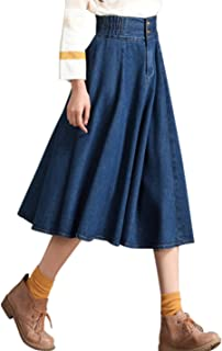 Tanming Women's Elastic Waist A-Line Pleated Midi Denim Skirt (Large Blue)