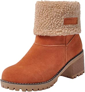 e1ec002d0dd Inornever Women's Winter Short Boots Round Toe Suede Chunky Low Heel Faux  Fur Warm Ankle Snow