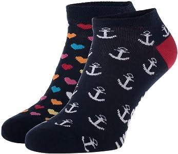 UnabuxUnabux Zapatillas Calcetines Calcetines Patucos struempfe para Hombre o Mujer–Doble Paquete Talla 41–46