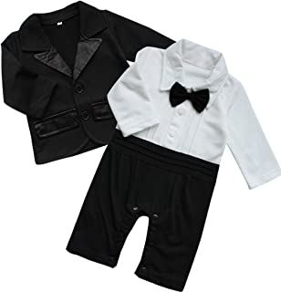 Baby Boy's 2Pcs Gentleman Wedding Formal Tuxedo Suit Romer Outfit Set Black White
