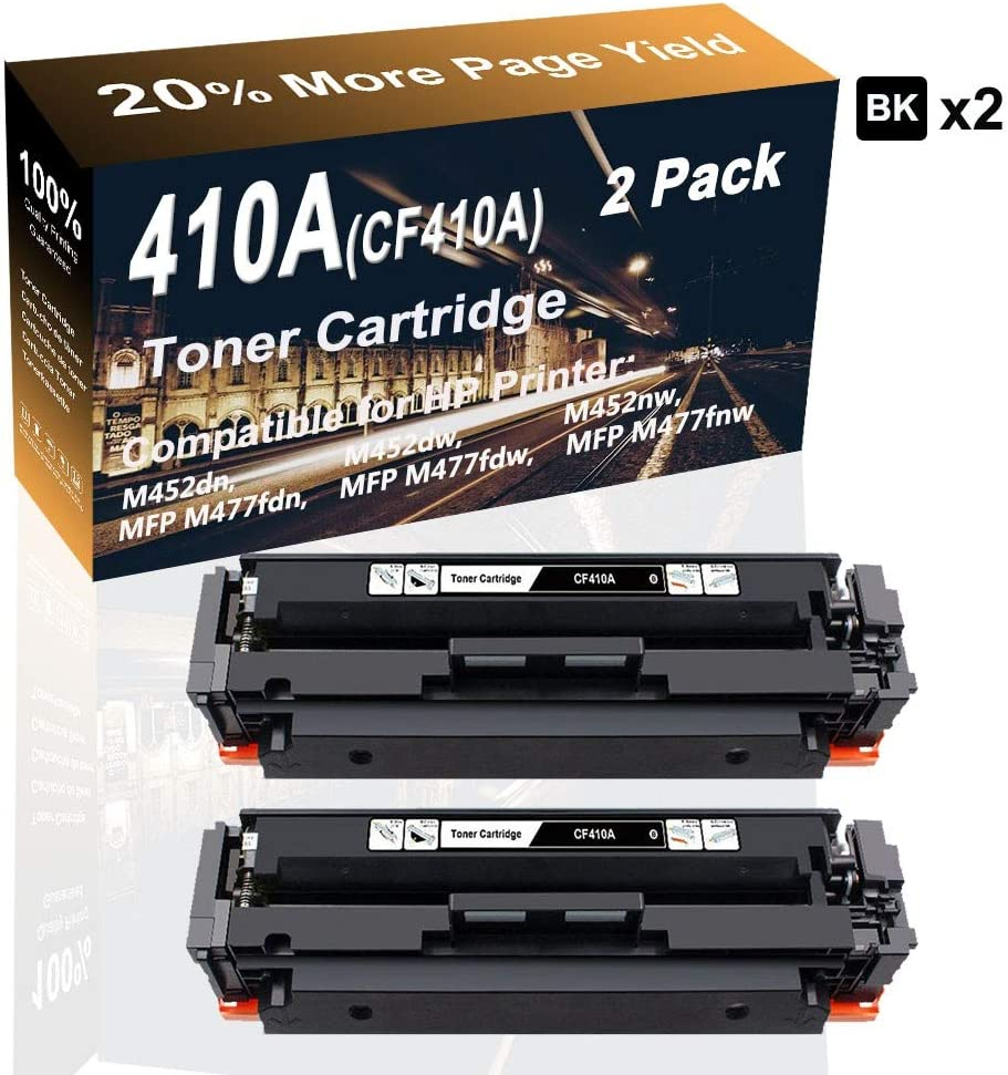 2-Pack (Black) Compatible High Capacity Color 410A CF410A Printer Toner Cartridge use for HP MFP M477fdw MFP M477fnw M452dn Printer
