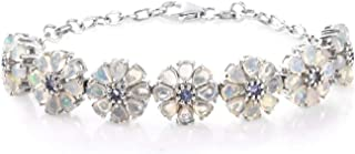 Opal Tanzanite Flower Bracelet 925 Sterling Silver Platinum Plated Jewelry for Women Gift Size 7.25