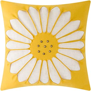 JWH Sunflower Throw Pillow Cases Wool Cotton Cushion Covers Home Sofa Car Bed Living Room Decor Pillowcases 18 x 18 Inch