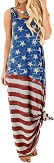 Limsea Women Long Maxi Dress 2019 Flag Print Round Neck Sleeveless Cotton Linen Baggy Dress