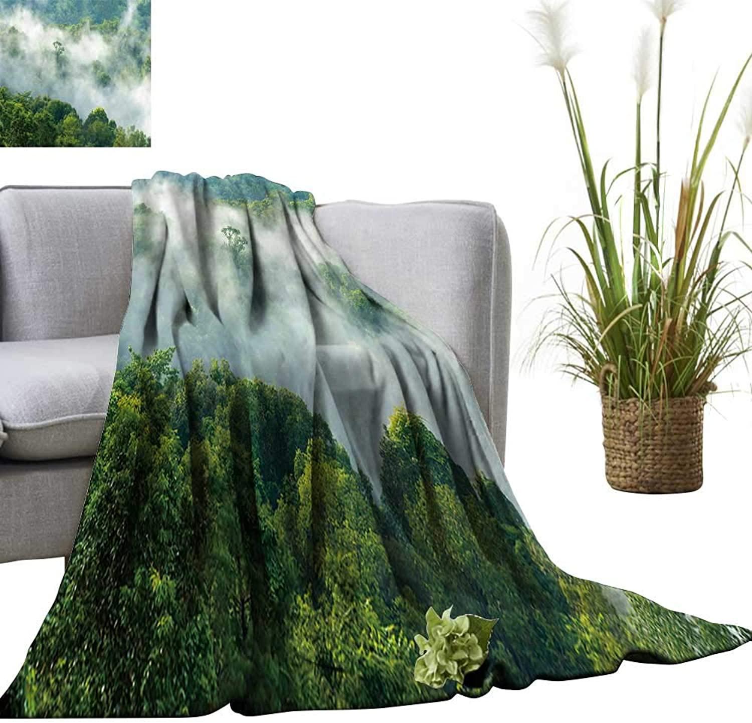 YOYI Single-Sided blanketGorgeous Green Forest in The Fog After rain for Bed & Couch Sofa Easy Care 70 x90