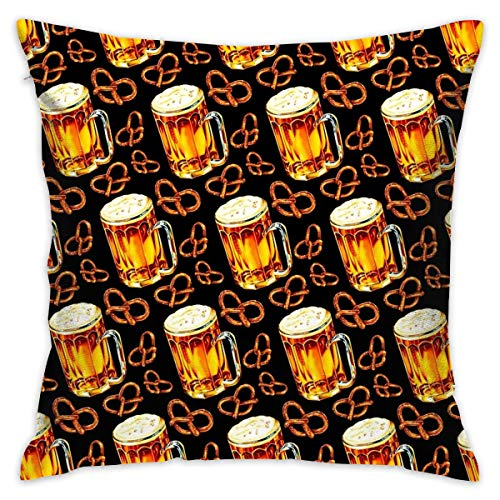 Sotyi-ltd Funda de cojín decorativa con diseño de lámpara de cerveza, color negro, para regalo, hogar, sofá, cama, coche, 45,72 x 45,72 cm