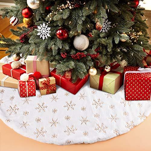 Miavogo Christbaumdecke mit Goldenen Schneeflocken, Weihnachtsbaum Decke Rock aus Weichem Plüsch Baumdecke Rund Weihnachten Deko, Weiß - 90 cm
