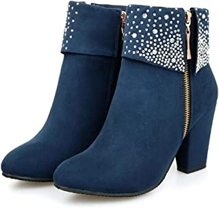 Womens Ankle Work Boots Mid Heel Party Pump Booties Autumn Bling Shoes with Rhinestones