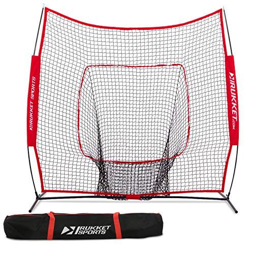 Rukket 7x7 Baseball & Softball Net, Practice Hitting, Pitching, Batting and Catching, Backstop Screen Equipment Training Aids, Includes Carry Bag (7x7ft Net & Bag)