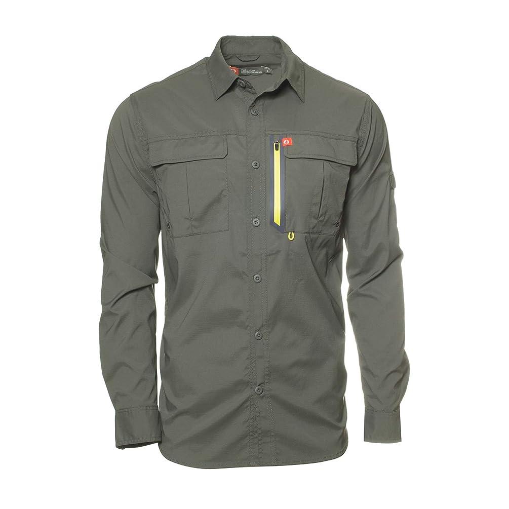 American Outdoorsman Men's Long-Sleeve Fishing Shirt Blackfoot River, Moisture-Wicking Button-Up Clothes/Apparel