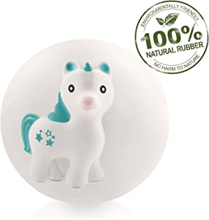 Pure Natural Rubber Teether Sensory Ball Toy – MIRA UNICORN - SEALED HOLE, Textured for Teething and Sensory Play, Perfect Bouncer, BPA Free, PVC Free, Hole Free Teething Ball for Baby, Easy to Clean