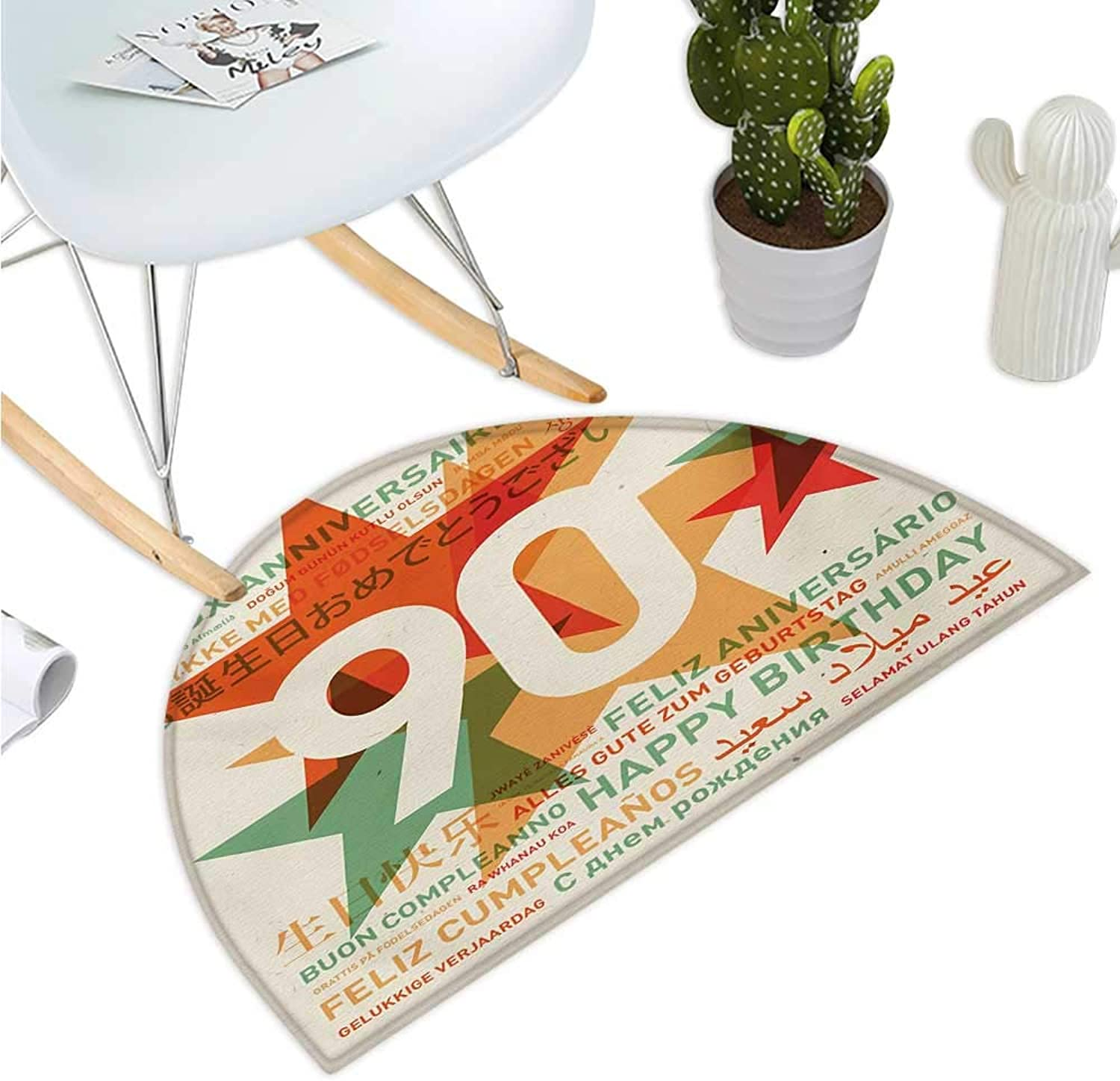 90th Birthday Semicircular Cushion Old Age Celebrations from The World Languages and Stars in Vintage Style Bathroom Mat H 47.2  xD 70.8  Multicolor