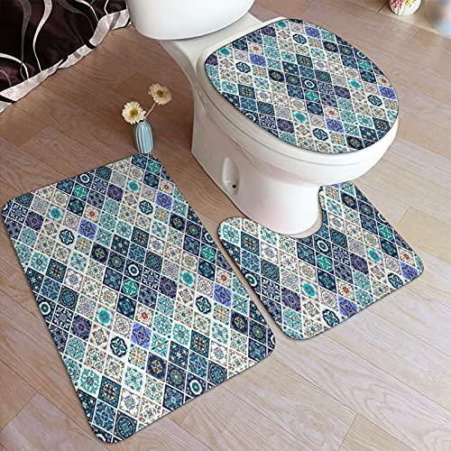 Juegos de alfombra de baño para el hogar, 3 piezas para baño, Azulejos de mosaico de azulejo mixto histórico portugués con M,Alfombrilla de ducha antideslizante ultra suave, Alfombra de contorno en