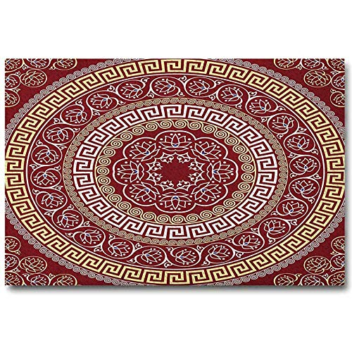 HeKua Greek Key Wall Art Round and Square Ornament Meander with Floral Motifs and Spirals Toddler Easter Gifts Ruby Pale Yellow White L24 x H48 Inch