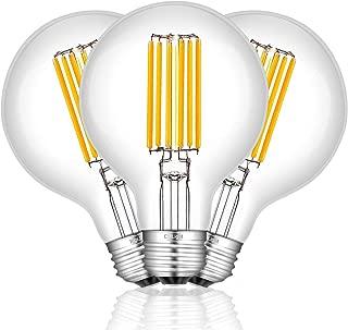 CRLight 8W Edison LED Globe Bulb 80W Equivalent 3000K Soft White 800 Lumens, E26 Base Antique G25 / G80 Clear Glass Globular Dimmable LED Filament Bulbs, Bathroom Vanity Mirror Light, Pack of 3