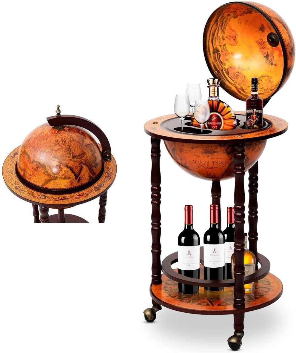 RELAX4LIFE Globusbar mit Rollen, Minibar Massivholz, Weinregal Flaschenregal mit Bodenplatte, Barwagen, Hausbar, Globus Bar, Weinschrank, Tisch...
