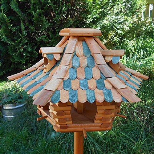 Großes Vogelhaus Futterhaus Vogelhäuschen –Wetterschutz– K22K Dunkelgrün - 4