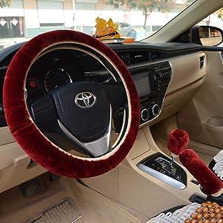 Meiyiu Warm Fur Automotive Steering Wheel Cover Universal Steering-Wheel Plush Car Steering Wheel Covers Wine red Steering...
