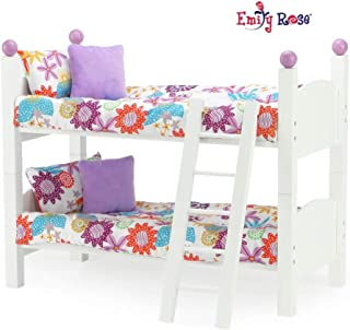 Emily Rose 18 Inch Doll Furniture for American Girl Dolls | 2 Single Stackable 18 Inch Doll Beds | Doll Bunk Bed, Includes 2 Sets of Colorful Bedding & Ladder | Fits 18