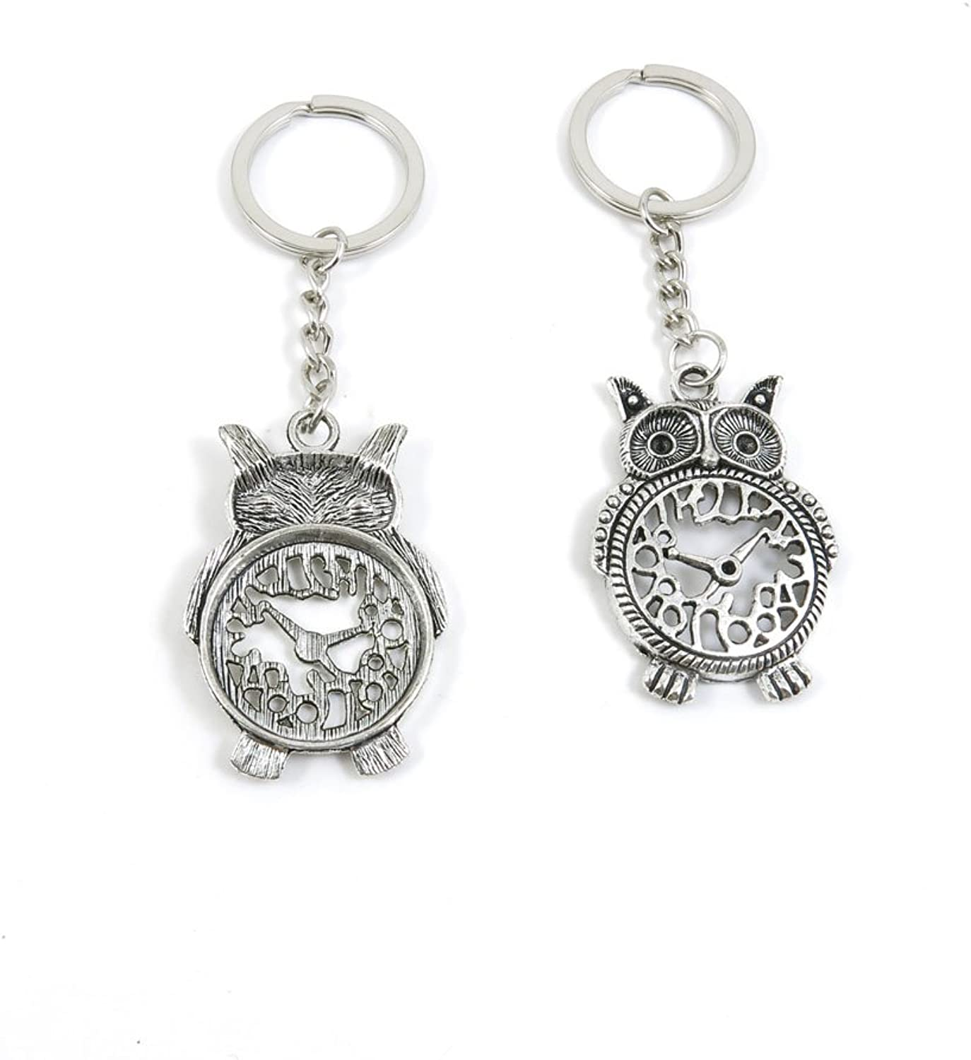 50 Pieces Keychain Keyring Door Car Key Chain Ring Tag Charms Bulk Supply Jewelry Making Clasp Findings U3QV3W Owl Clock Time
