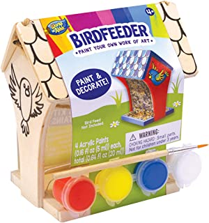 MasterPieces Works of Ahhh Real Wood Small Acrylic Paint & Craft Kit, Silk Screened Bird Feeder, for Ages 4+