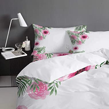 4 Pieces Duvet Covers Queen Size Watercolor Tropical Plants Pink Floral Green Succulents Ultra Soft Washed Microfiber Comfort