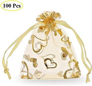 sacs de cadeaux de No/ël rose pour sac de bonbons f/ête de mariage 100 pochettes /à bijoux SumDirect en organza avec cordon de serrage imprim/ées avec motif c/œur imprim/é de couleur or de 9x12cm