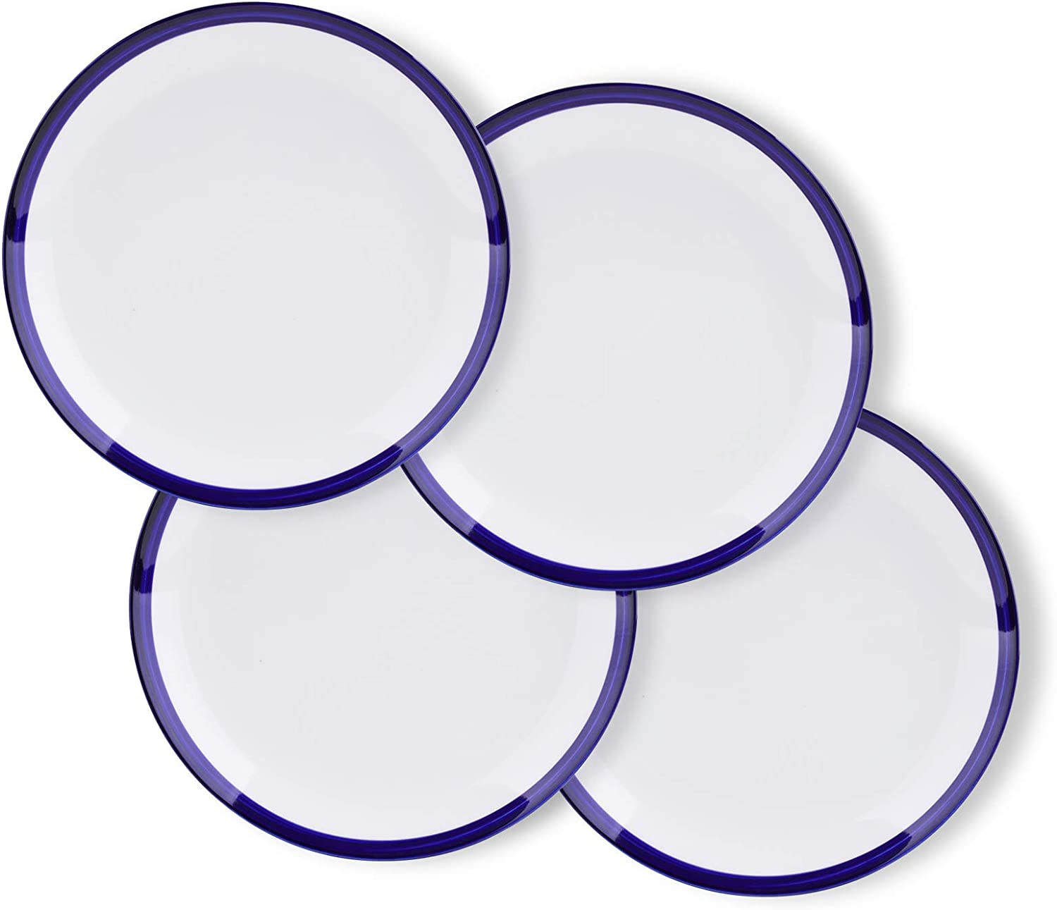 Amoi Blue Rimmed White Ceramic Dinner Plates Set, Microwavable Flat Plates Chip Resistant Dinnerware for Banquet and Daily Use, Set of 4(7.7 inch)