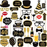 Seasons Stars SSDecor Adult 40th Birthday Photo Booth Props(41Pcs) for Her Him Cheers to 40 Years Birthday Party, Gold and Red Decorations,40th Happy Birthday Party Supplies for Men Women