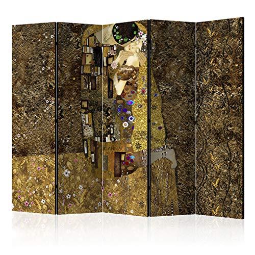 decomonkey Raumteiler Paravent Beidseitig XXL Gustav Klimt Kuss 225x172 cm 5 TLG. Trennwand Vlies Leinwand Raumtrenner Sichtschutz spanische Wand Blickdicht Textile Haptik Gold