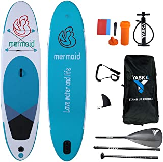 YASKA 10.6ft Allround Inflatable Stand Up Paddle Board, Non-Slip Deck(6 Inches Thick) with Adjustable Paddle,Fin, Leash, H...