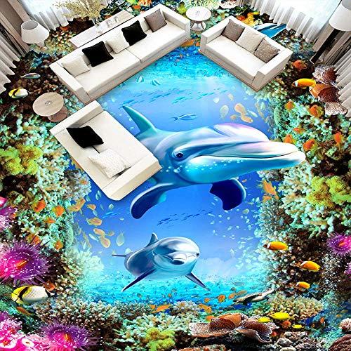 Custom Self-Adhesive Floor Mural Wallpaper 3D 3D Underwater World Dolphin Fish 3D Floor Sticker Children Room Bedroom Bathroom Floor Waterproof Mural Self-Adhesive Wallpaper-200*140Cm For Kitchen Ba