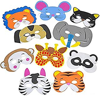 Kicko Foam Funny Animal Mask - 12 Pack for Kids and All Ages, Party, Halloween, Dress-up, Prop, Costume with Elastic Strap
