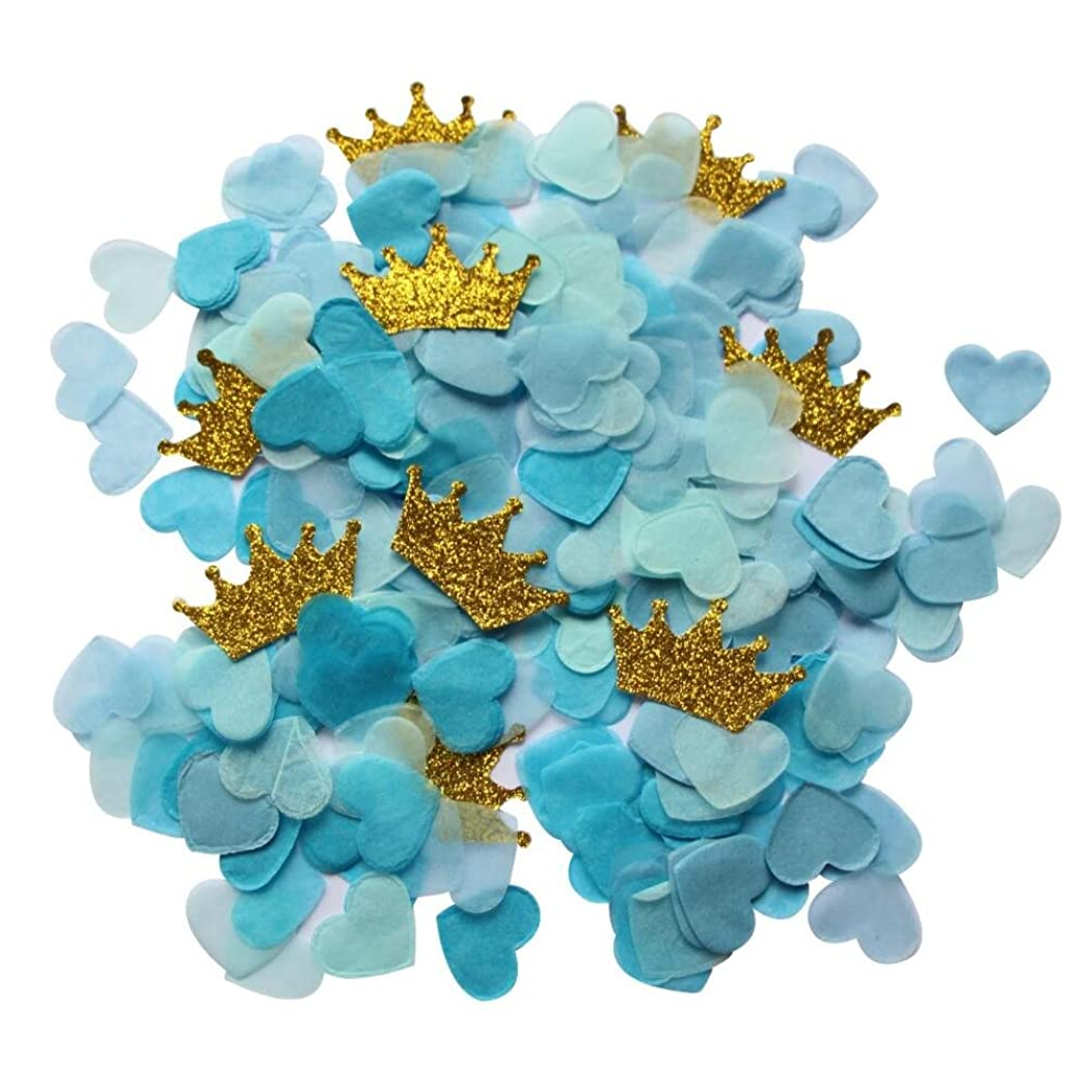 Mybbshower Blue Paper Hearts and Gold Glitter Crown for Boy Birthday Party Table Decor Pack of 1 oz