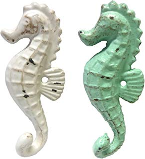 Cast Iron Seahorse Wall Hooks, Assorted Colors, Set of 2