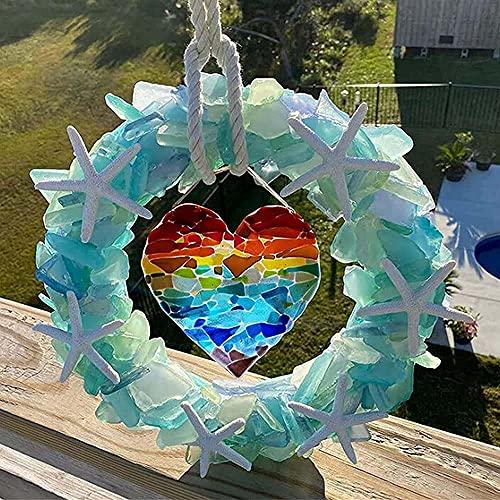 Seashell Wreath Wedding Decoration - Colorful Sea Decoration Wreath, Personalized Starfish Wreath, Sea Glass Wreath with Starfish and Rope Hanger (B)
