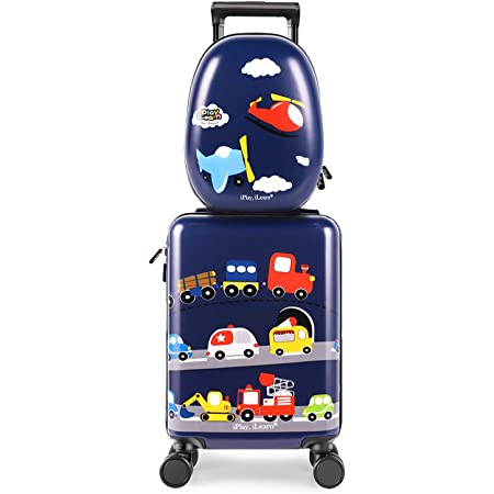 """iPlay, iLearn Kids Carry On Luggage Set, 18"""" Hardside Rolling Suitcase W/ Spinner Wheels, Hard Shell Travel Luggage W/ Backpack for Boys Toddlers Children"""