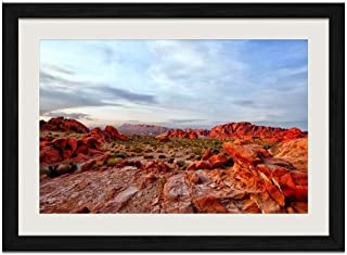 Red Rock Desert - Art Print Wall Black Wood Grain Framed Picture(16x12inches)