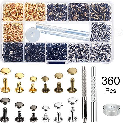 360 Sätze Leder Nieten Doppelkappe Niet Rohr Metallnieten und 3 Stück Set Tool Kit für Lederhandwerk Reparaturen Dekoration, 4 Farben 2 Größen