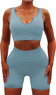 Seamless Workout Sets for Women 2 Piece Yoga Outfits Ribbed High Waist Leggings with Sports Bra Gym Set.JNINTH