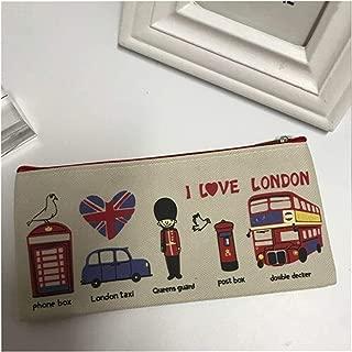 YWSCXMY-AU London Style Pencil Pencil Case Storage Bag Fresh Wallet Zipper Coin Box Student Stationery Bag (Color : Beige)