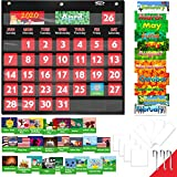 Black Calendar Pocket Chart with 76 Cards,(68 Illustrated Activity Cards, 8 Dry Erasable Flash Cards and 3 Hooks)