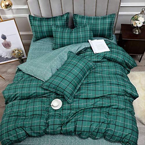 JOEYFAYE Green Lattice Duvet Cover Double Bed 200 * 220Cm, Microfiber Double Layer Bed Ding Set With Pillowcase Zipper Closure.