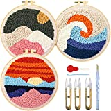 3 Sets Punch Needle Embroidery Starter Kit Punch Needle Kits Threader Fabric Embroidery Hoop Yarn Rug Punch Needle with an Adjustable Embroidery Pen for Adults Kids Beginner (Red)