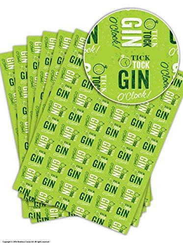 """Lustiges Geschenkpapier mit Aufdruck \""""Gin O\'Clock\"""", 6 Sheets"""