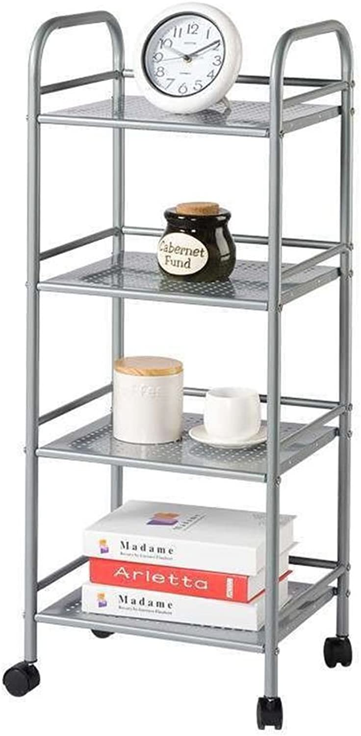 XLong-Home Four-Storey Multi-Purpose Mobile Storage Cart Wheels Storage Rack Carbon Steel 7852 Silver