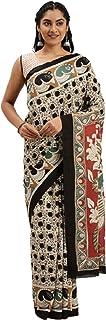 Pure Cotton Indian Handcrafted Kalamkari Print Saree Blouse Formal Woman Occasional Sari 6321 9