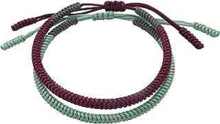 Handmade Bracelet for Men and Women Tibetan Lucky Bracelet Woven Bracelets Lucky Mint and Deep Red String Bracelets for Protection Pack of 2 by LaMiTales
